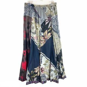 Aü 100% Cotton Floranl Lagenlook Full Maxi Skirt M